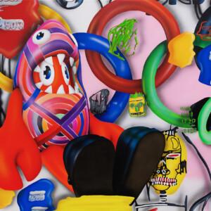 コラボレーション・ペインティング (ロブスター・ランド・ミュージアムより) 100 x 120 x 4.5cm キャンバスに油彩とアクリル絵具